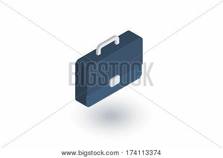 case, briefcase, career symbol, portfolio isometric flat icon. 3d vector colorful illustration. Pictogram isolated on white background