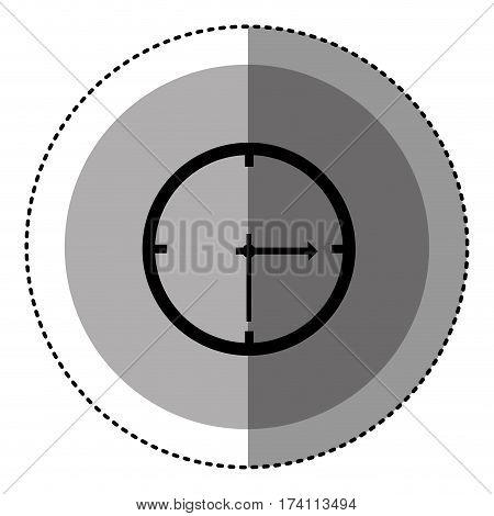 sticker monochrome circular emblem with wall clock icon vector illustration