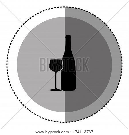 sticker monochrome circular emblem with bottle and glass of wine vector illustration