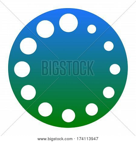 Circular loading sign. Vector. White icon in bluish circle on white background. Isolated.