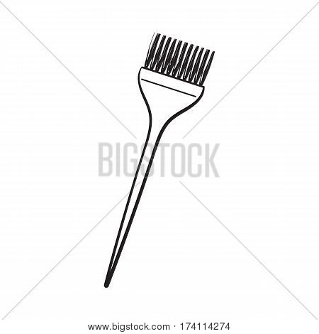 Color mixing plastic hairdresser brush, hairbrush, sketch style vector illustration isolated on white background. Hairbrush, coloring brush, hairdresser tool for hair bleaching and coloring
