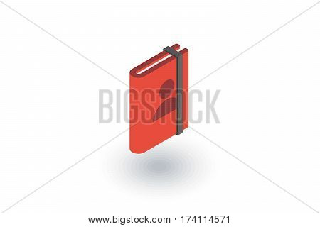 Contacts, address book isometric flat icon. 3d vector colorful illustration. Pictogram isolated on white background