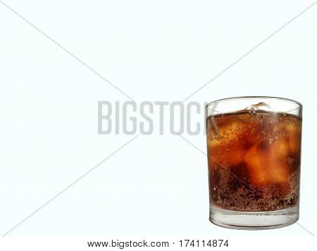 Black Water in a glass of ice White background