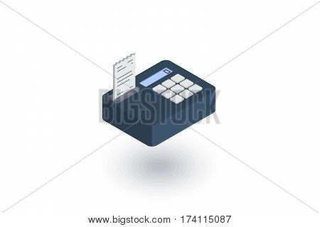 cash register isometric flat icon. 3d vector colorful illustration. Pictogram isolated on white background