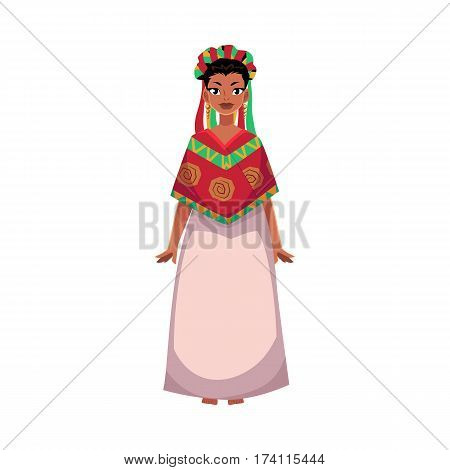 Mexican woman in national clothes, serape shawl and flower crown, head wreath, cartoon vector illustration isolated on white background. Full length portrait of Mexican woman in national clothes