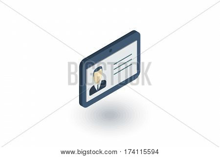 ID card isometric flat icon. 3d vector colorful illustration. Pictogram isolated on white background
