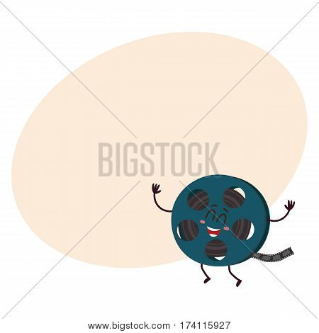 Cute and funny motion picture, cinema film reel character with smiling human face, cartoon vector illustration with place for text. Smiling movie, cinema film reel character, mascot