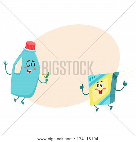 Funny detergent bottle and washing powder characters with smiling human faces, cartoon vector illustration with place for text. Detergent bottle and washing powder characters, laundry objects