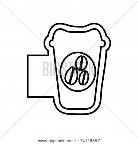 monochrome contour emblem with disposable coffee cup vector illustration
