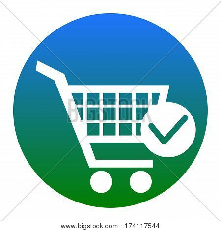 Shopping Cart with Check Mark sign. Vector. White icon in bluish circle on white background. Isolated.