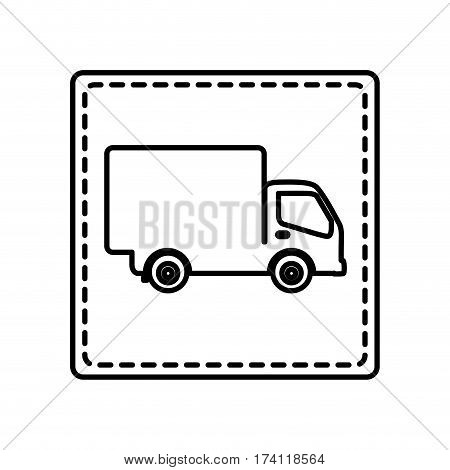 monochrome contour square and dotted line with truck vector illustration