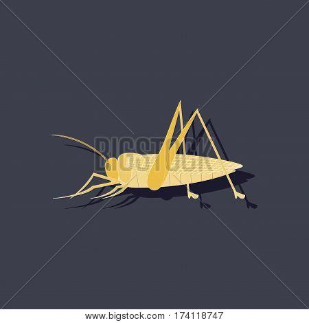 paper sticker on stylish background of grasshopper