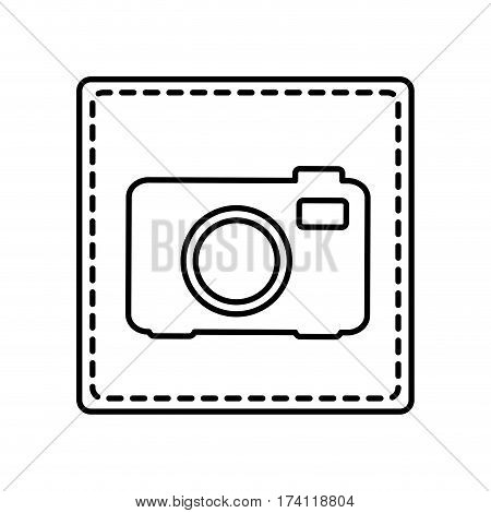 monochrome contour square and dotted line with analog camera vector illustration