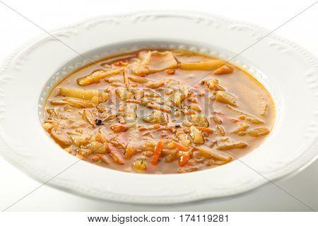 Vegetable Soup. White Bowl Plate