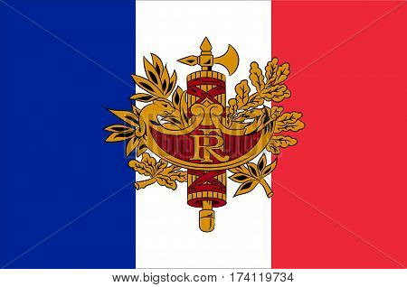 Flag of France is a sovereign state including territory in western Europe. Vector illustration