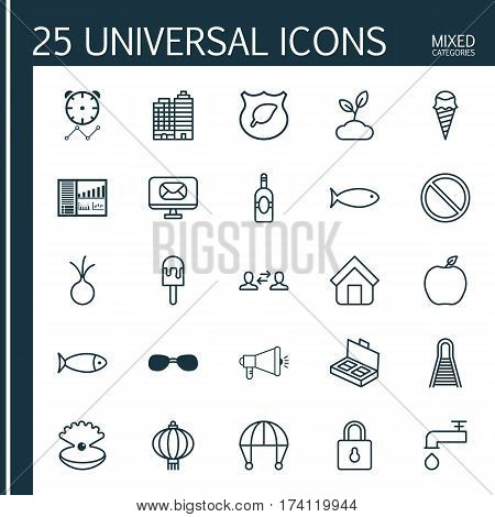 Set Of 25 Universal Editable Icons. Can Be Used For Web, Mobile And App Design. Includes Elements Such As Fish, Guard Tree, Email And More.