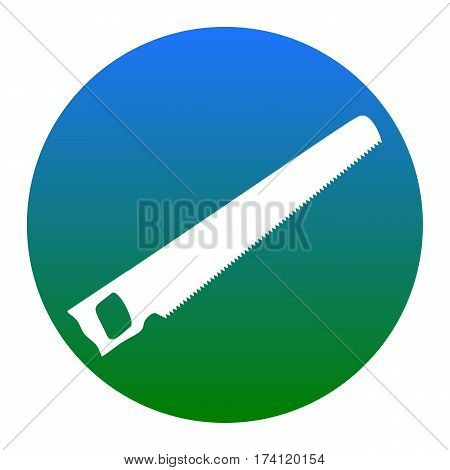 Saw simple sign. Vector. White icon in bluish circle on white background. Isolated.