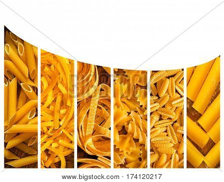 The different kinds of italian pasta. Food collage with copy spase