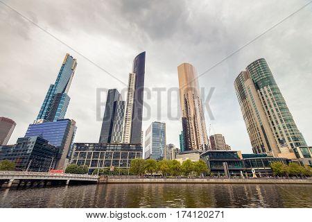 Melbourne Australia - December 27 2016: Skyscrapers in Melbourne CBD Yarra Southbank Victoria