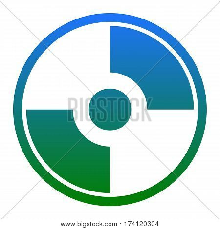 Vector CD or DVD sign. Vector. White icon in bluish circle on white background. Isolated.
