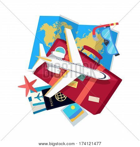 Vacation web banner. Aircraft, suitcase with luggage, world map, tickets, passport, visa, diving mask, starfish flat vector illustrations. For travel agency, airline company landing page design