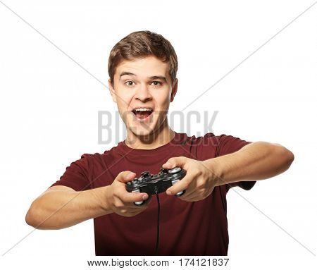 Teenager playing videogame on white background poster