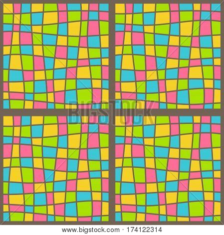 Bright fun multicolor abstract mosaic seamless pattern