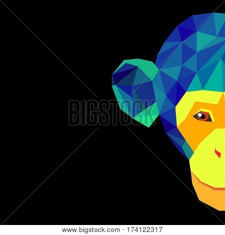 vector illustration cartoon cute monkey character happy wild mammal animal funny jungle