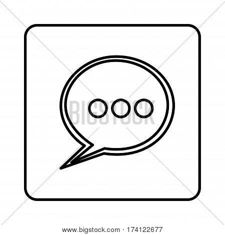monochrome contour square with speech bubble vector illustration
