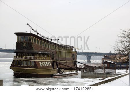 The old three-mast sailing vessel equipped with a restaurant on the river Dniepr Kiev