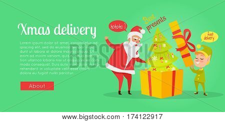 Xmas and fast delivery of best presents. Vector illustration of Santa Claus and gnome packing decorated Christmas tree in huge yellow box with red ribbon in cartoon style. Holiday web banner.