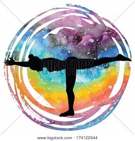 Women silhouette on galaxy astral background. Warrior 3 yoga pose. Virabhadrasana 3. Vector illustration.