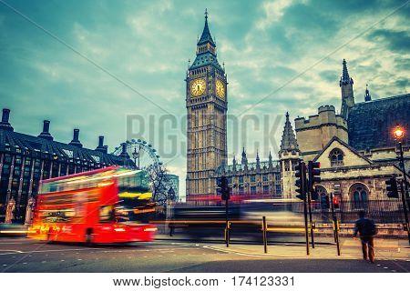 Double-decker bus in night London