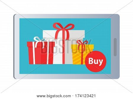 Buying nice colourful presents online on white background. Vector illustration in e-commerce concept of buying boxes with gifts with help of modern gadgets in Internet. Ribbons and bows decorate boxes
