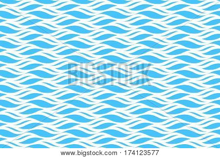 Summer seamless wave pattern isolated on blue background