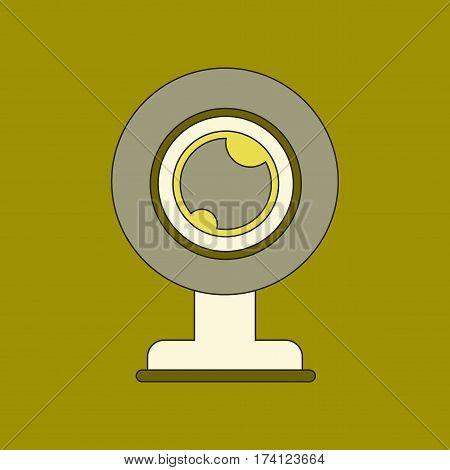 flat icon on stylish background computer Webcam