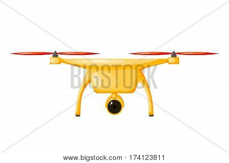 Vector illustration of a flying drone yellow color with red screws. Cartoon a DRON on white background. Stock vector illustration of a DRON
