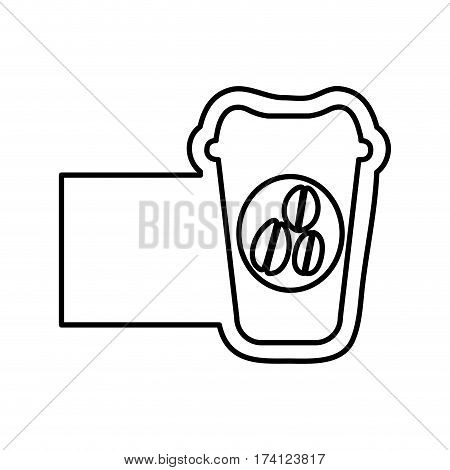 monochrome contour with disposable coffee cup and banner vector illustration