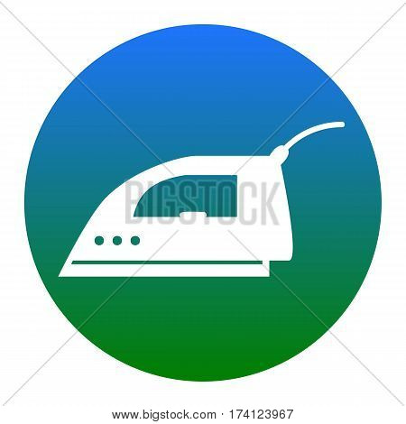 Smoothing Iron sign. Vector. White icon in bluish circle on white background. Isolated.