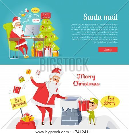 Collection of Merry Christmas and Santa mail pictures in cartoon style. Vector of Santa Claus reading online letters near decorated xmas tree and New Year characters throwing gift boxes in chimney.