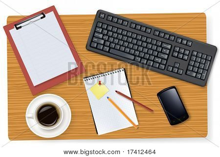 Grey keyboard, smart phone and office supplies laying on the board. Vector.