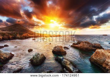 Pacific Ocean coast in California, USA