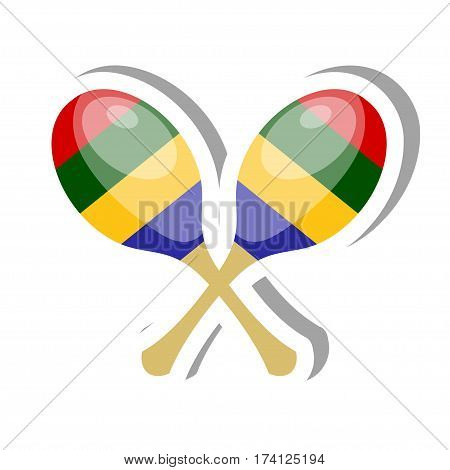 Color vector Cartoon musical instrument maracas on a white background. Stock vector illustration