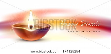 Vector illustration, banner, greeting card template for Diwali to Diwali elements. Burning diya on traditional Indian background