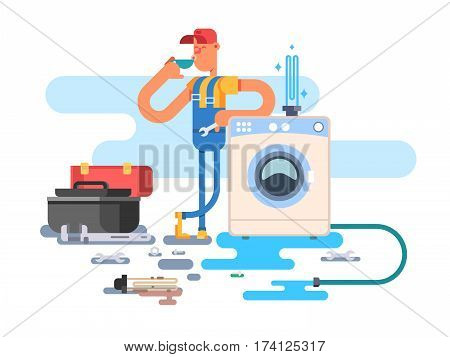 Repair of washing machines. Service maintenance, worker man, mechanic vector illustration