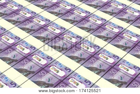 New Zealand dollar bills stacked background. 3D illustration.