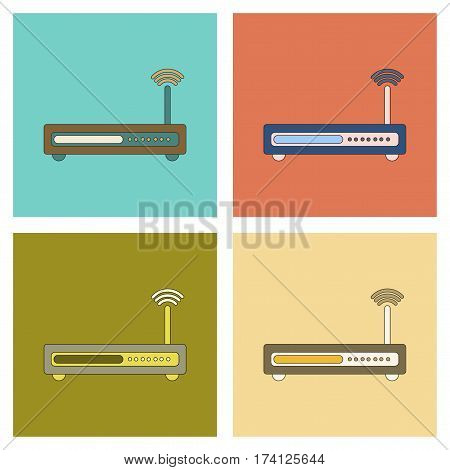 assembly of flat icon Wi fi modem