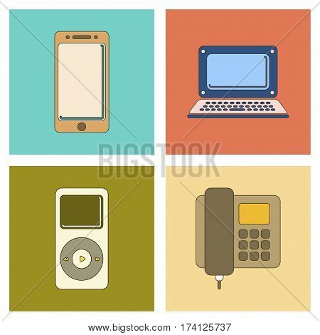assembly of flat icon electronics office phone music player laptop mobile phone