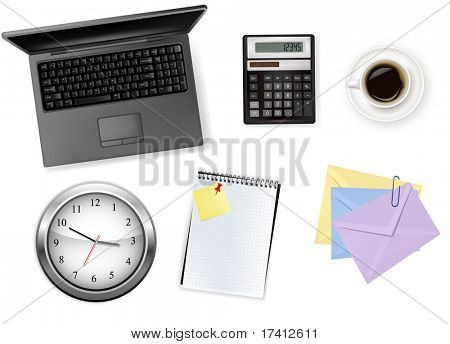 Notebook, calculator and office supplies. Vector.