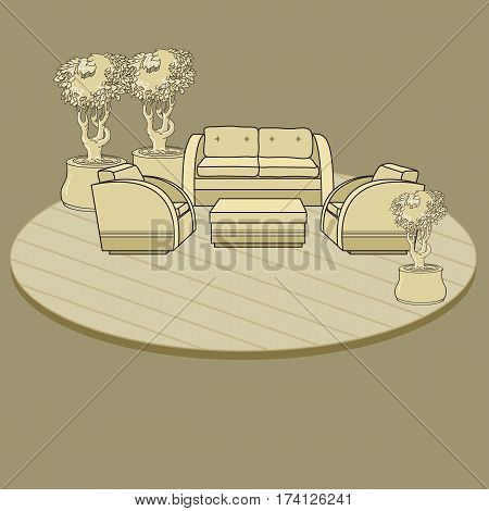 Vector illustration of hand drawn chairs, table  and flowers in pot on terrace or room. Furniture on beige  background. Landscape design. Interior. Rest area.
